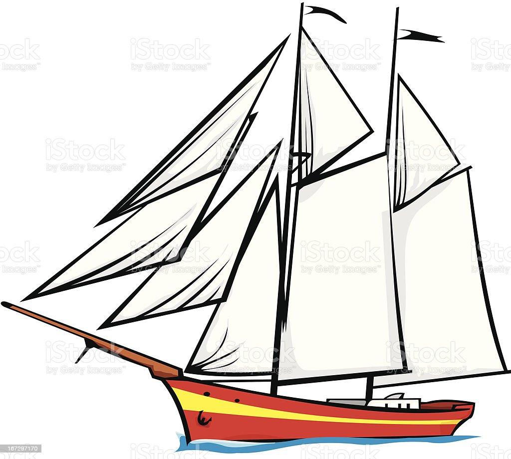 sailer - under full sail royalty-free stock vector art