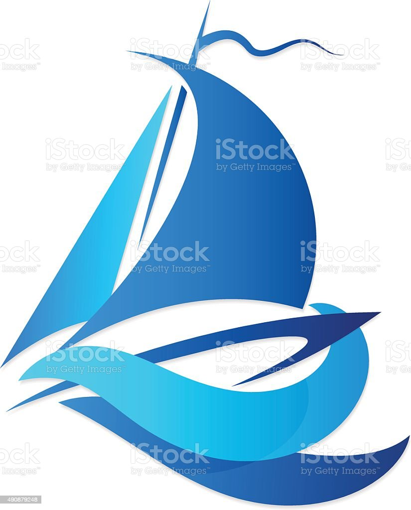 sailfish on blue waves vector art illustration