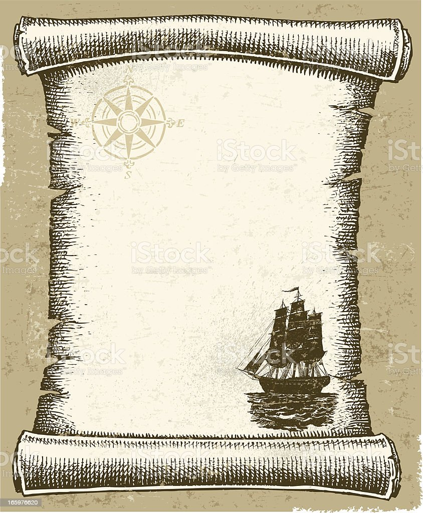 Sailing Background - Ship, Compass and Scroll royalty-free stock vector art