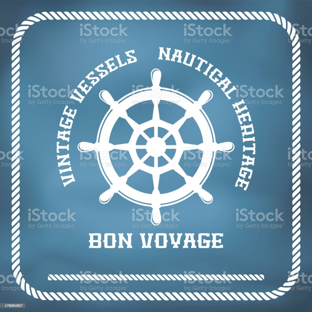 Sailing badge with ship wheel vector art illustration