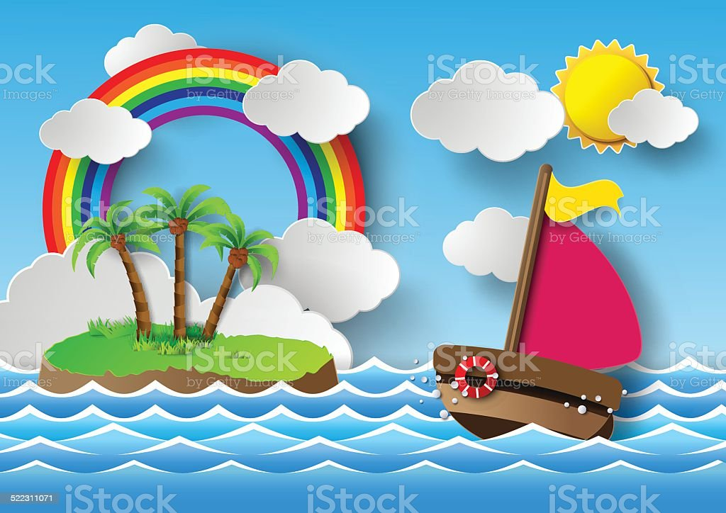 Sailing boat and cloud with rainbow. vector art illustration