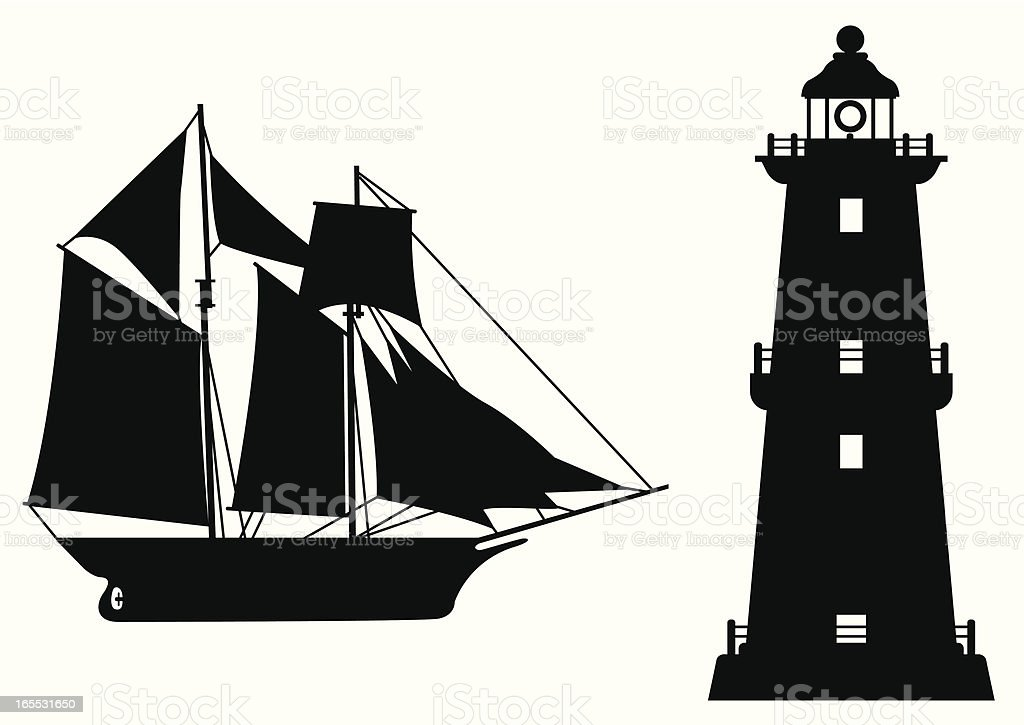 sailing boat and lighthouse royalty-free stock vector art
