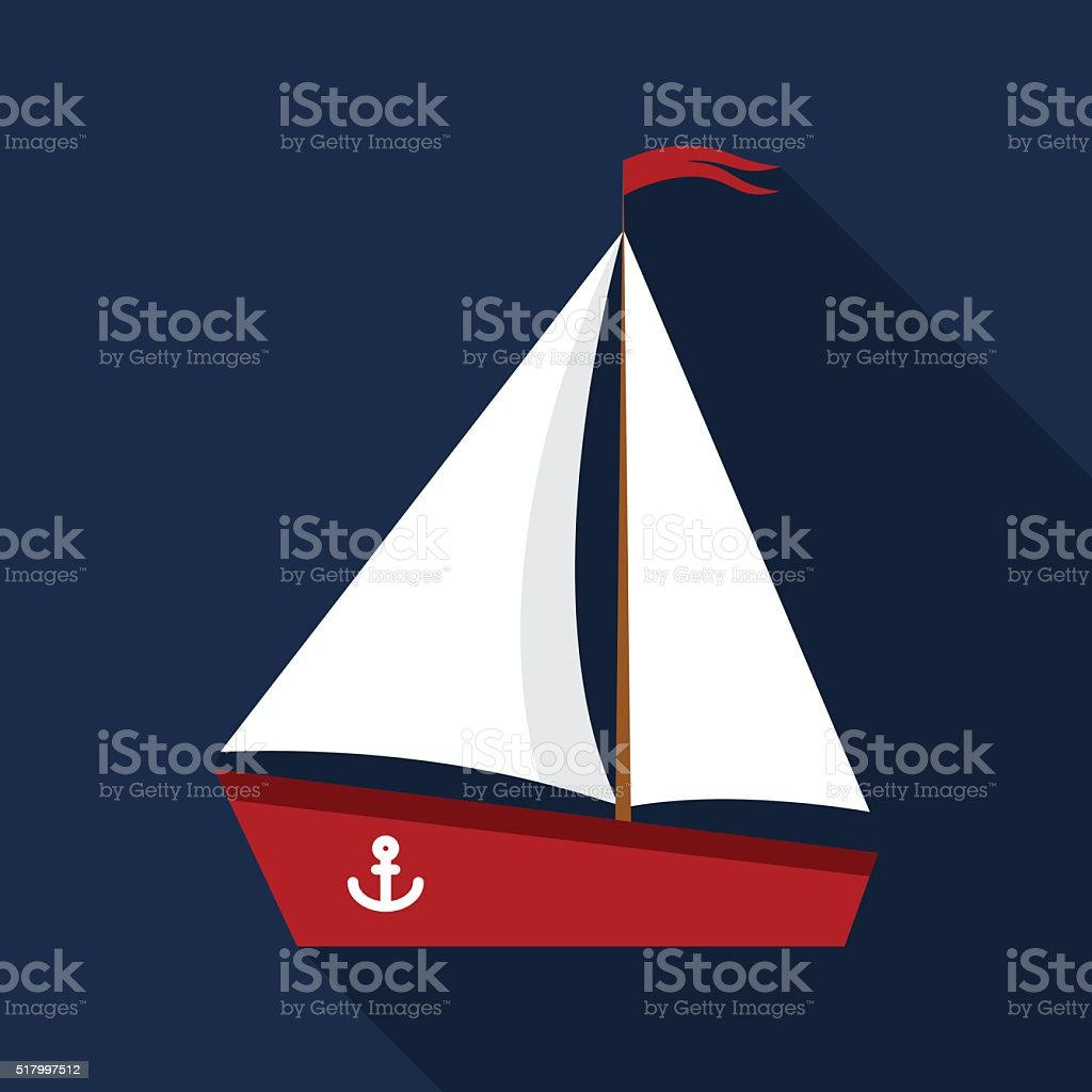 Sailing boat icon vector art illustration