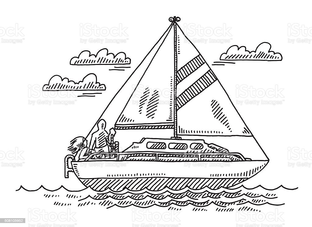 Sailing Boat Summer Vacation Drawing vector art illustration