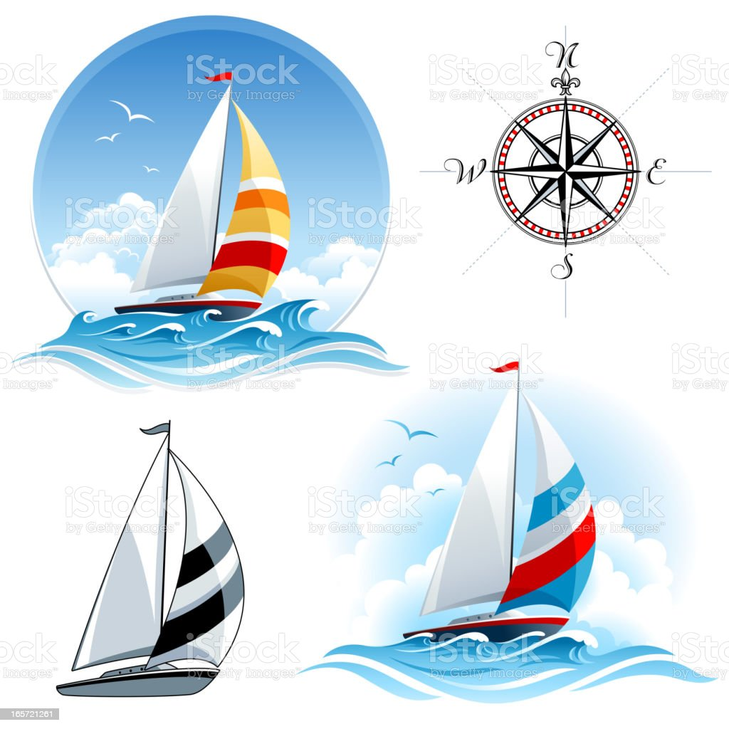 Sailing boats with compass vector art illustration