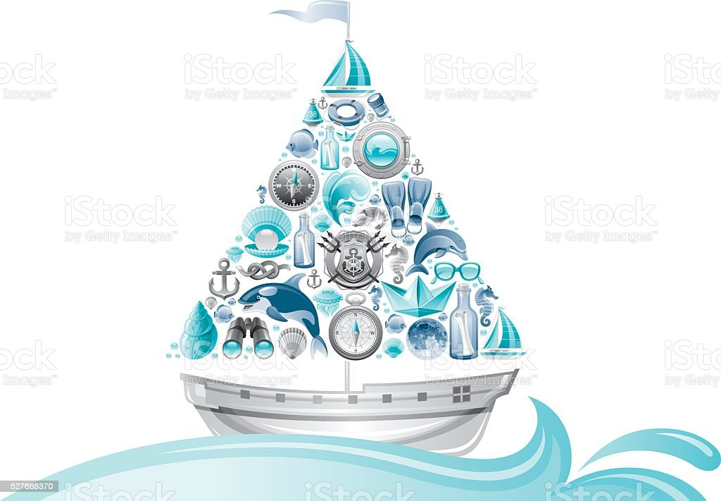 Sailing icon set in boat with wave vector art illustration