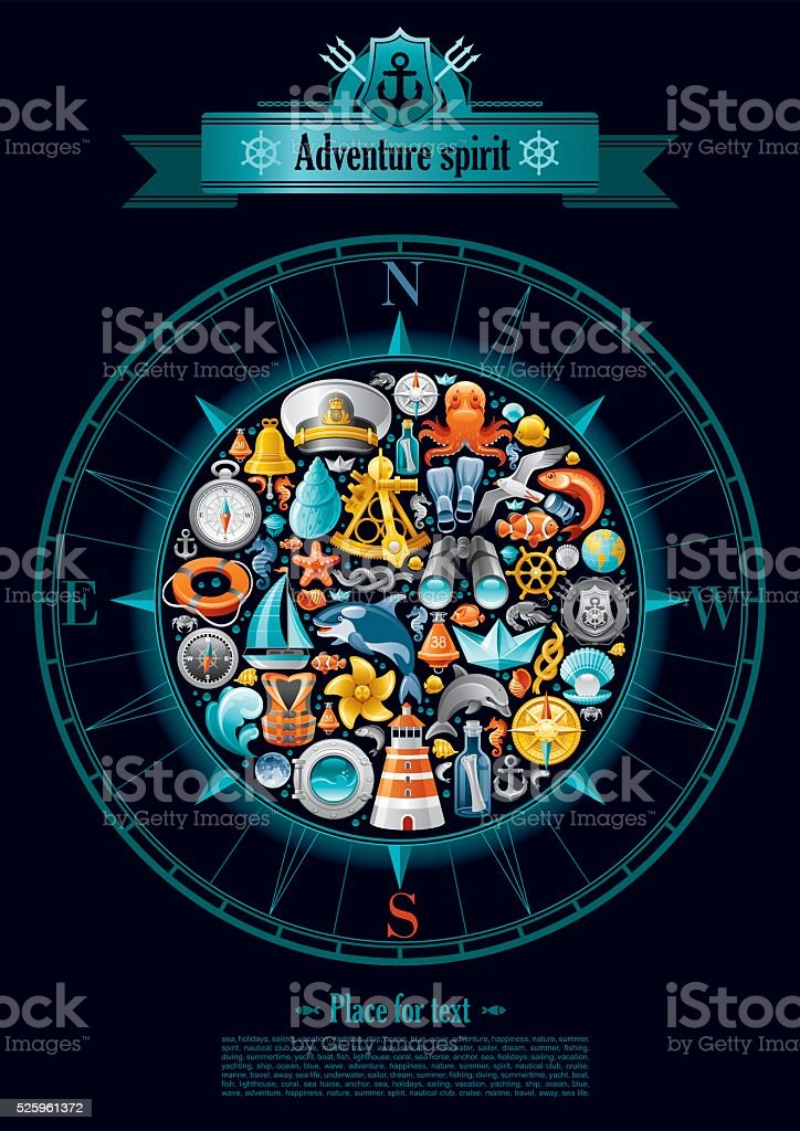 Sailing icon set in compass rose vector art illustration
