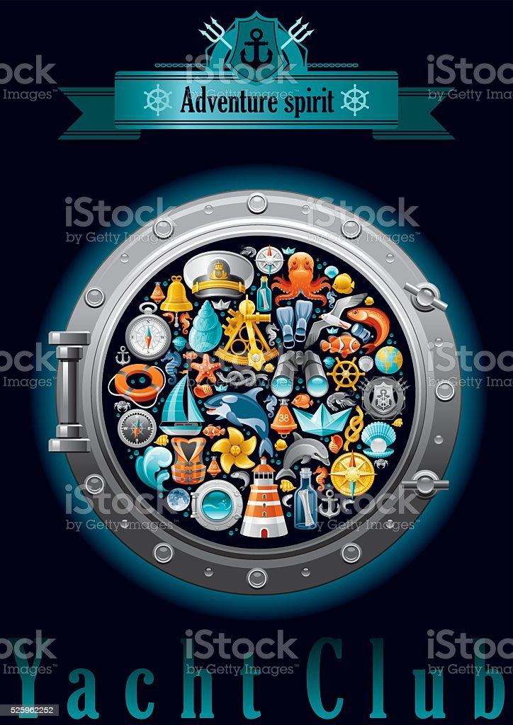 Sailing icon set in porthole vector art illustration