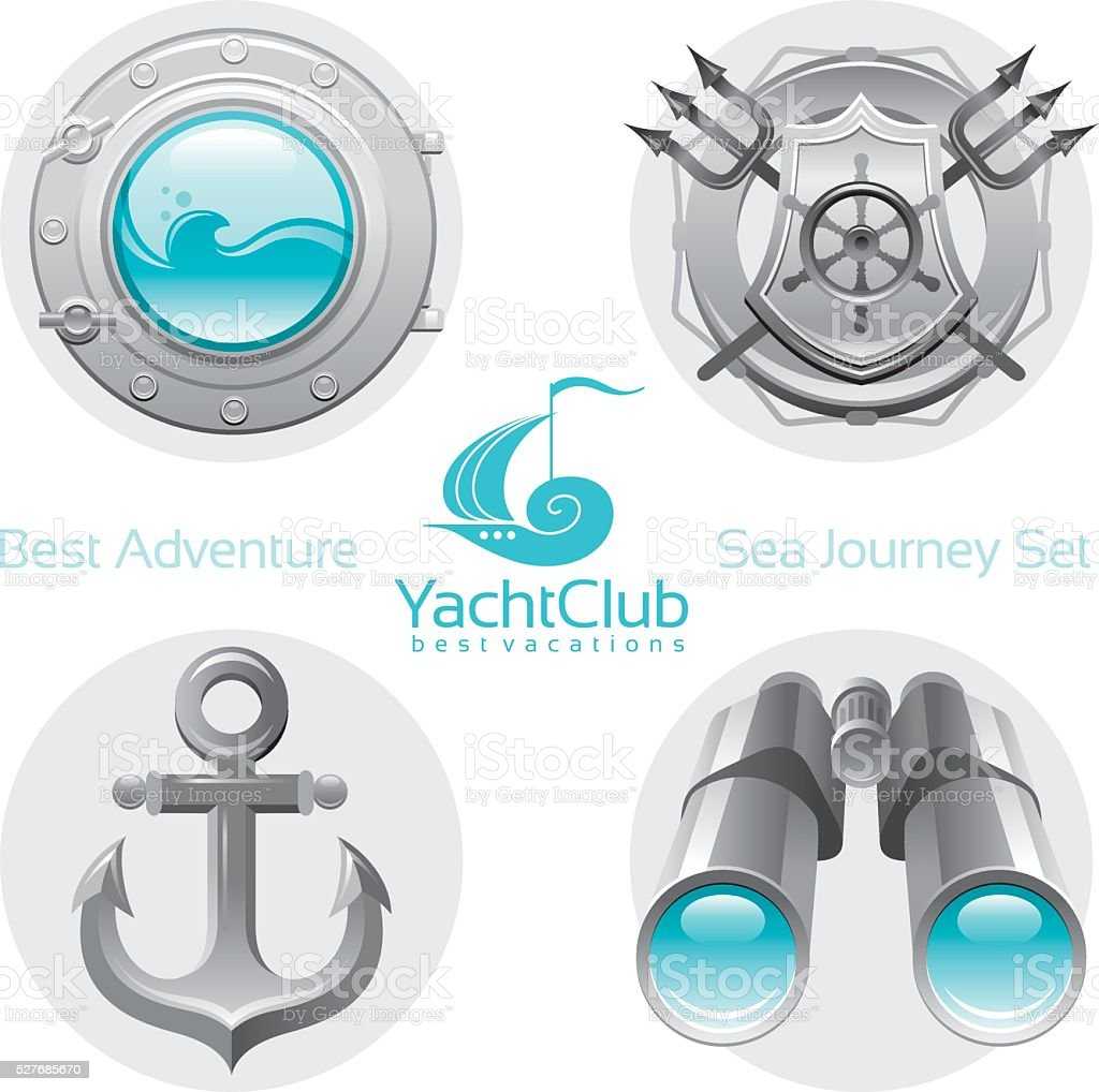 Sailing icon set with logo vector art illustration