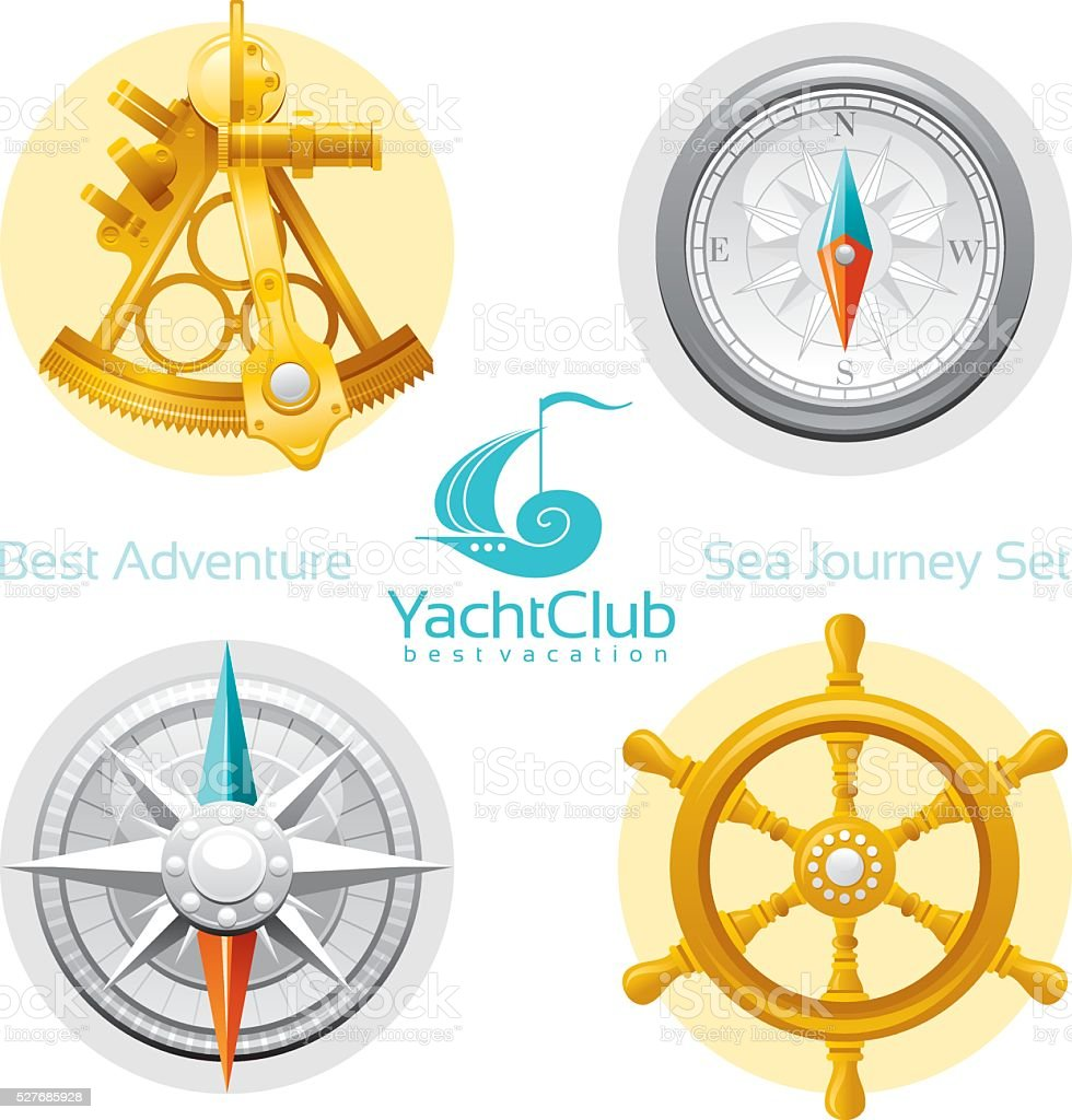 Sailing icon set with logo vector art illustration