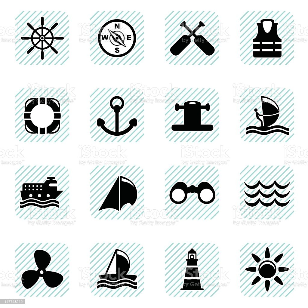 Sailing Icons (vector) royalty-free stock vector art