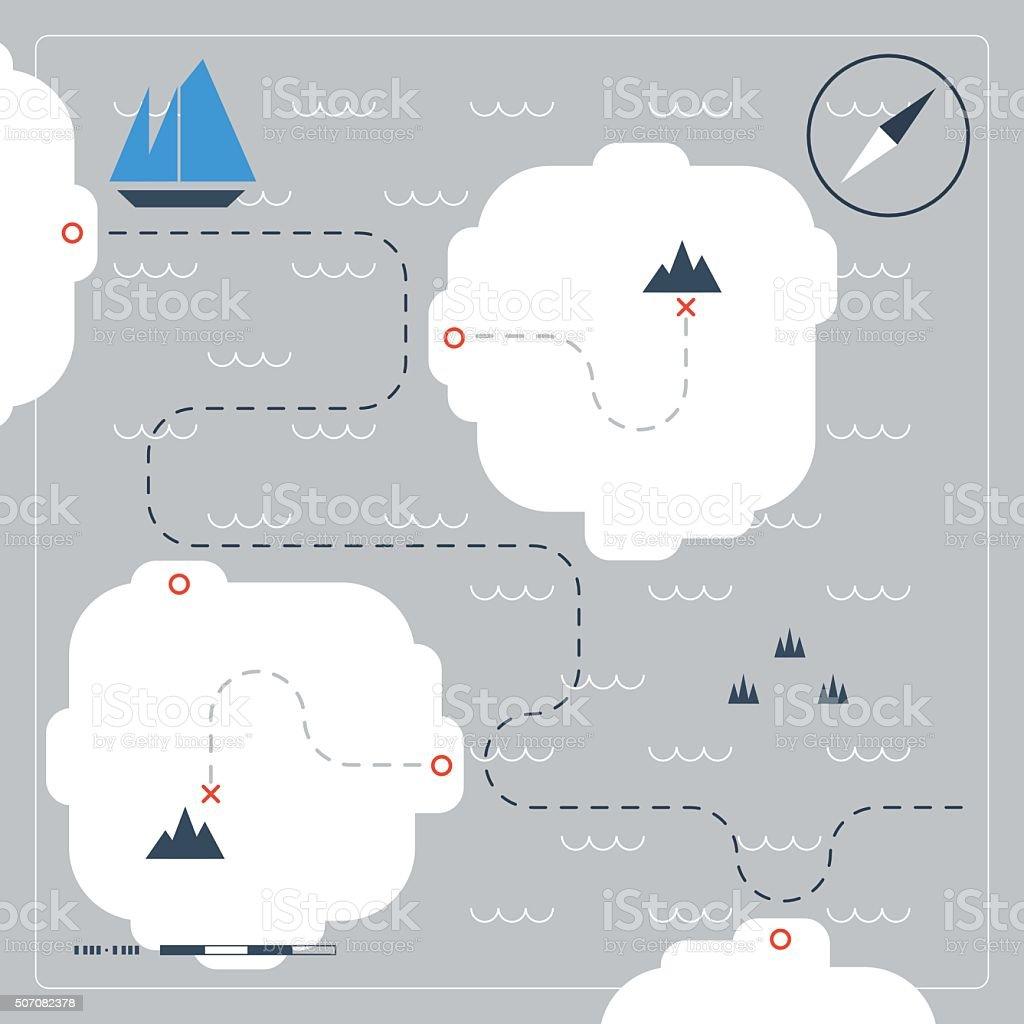 Sailing map vector art illustration