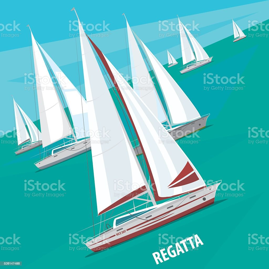 Sailing regatta with lots of boats vector art illustration