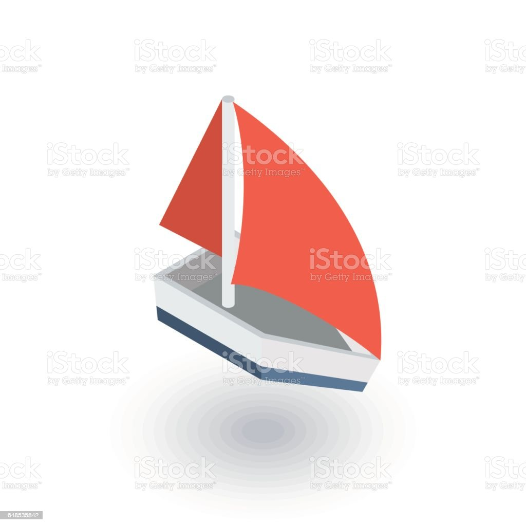 sailing ship isometric flat icon. 3d vector vector art illustration