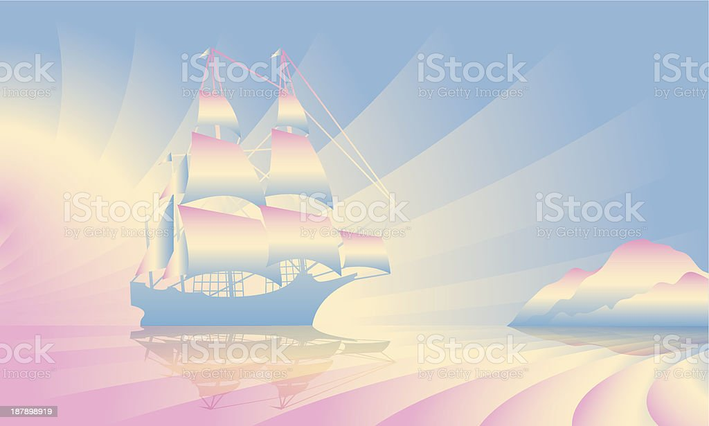 Sailing ship on skyline royalty-free stock vector art