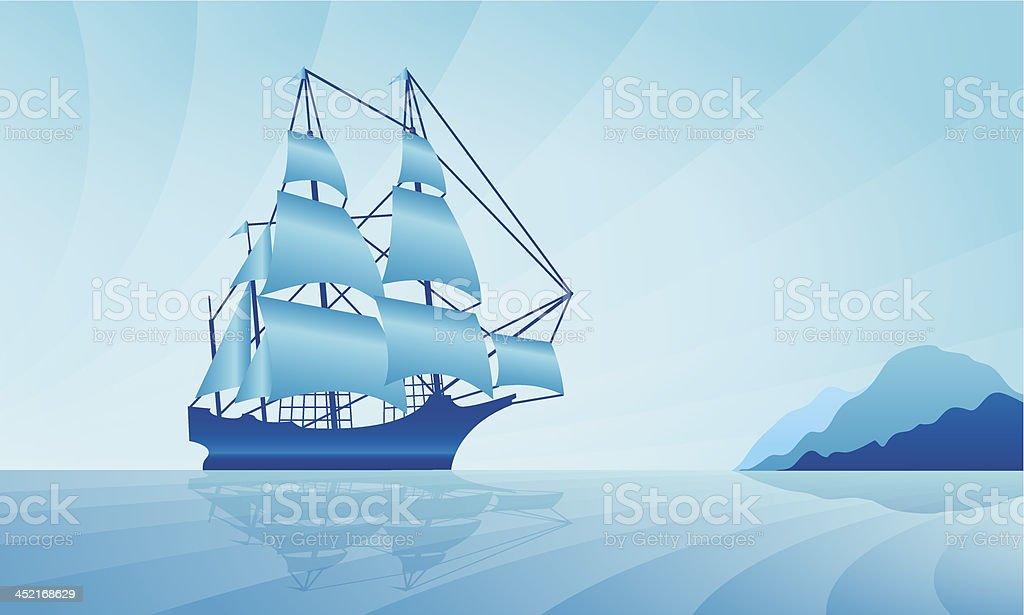 Sailing ship on skyline royalty-free stock vector art