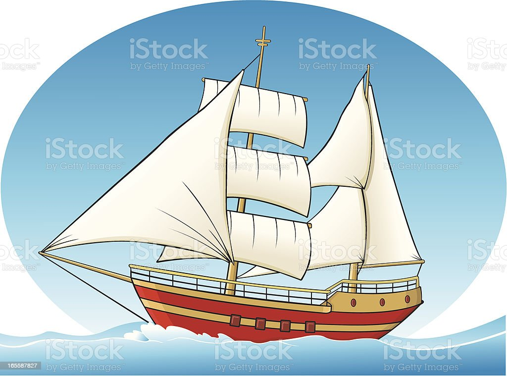 Sailing ship two mast vector art illustration