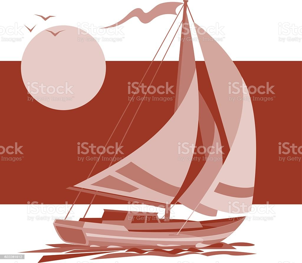 Sailing ship yacht in sunrise vector background vector art illustration