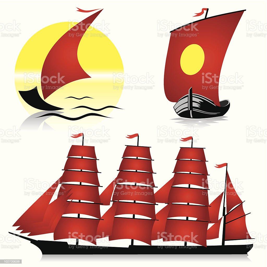 sailing ships vector art illustration