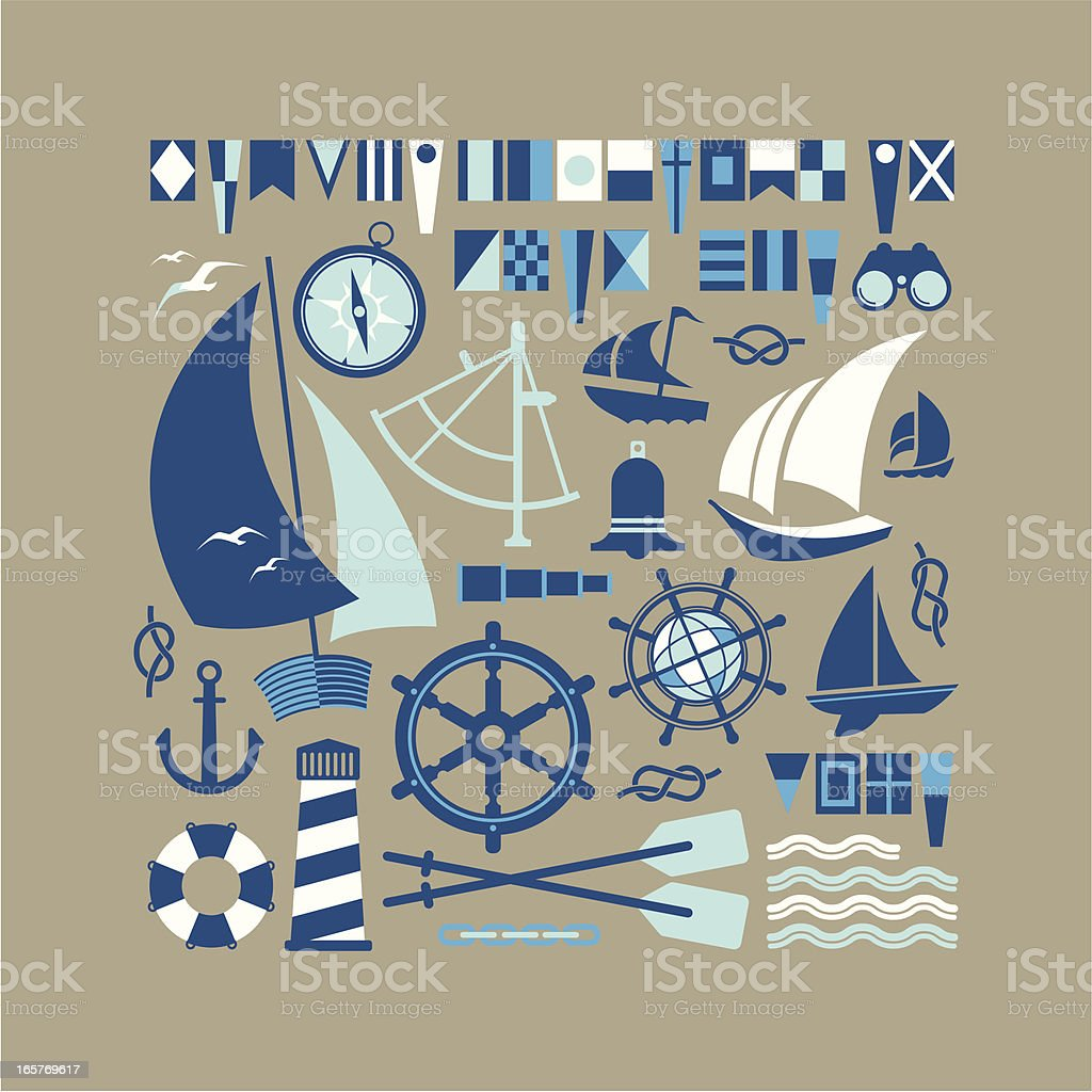 Sailing symbols royalty-free stock vector art