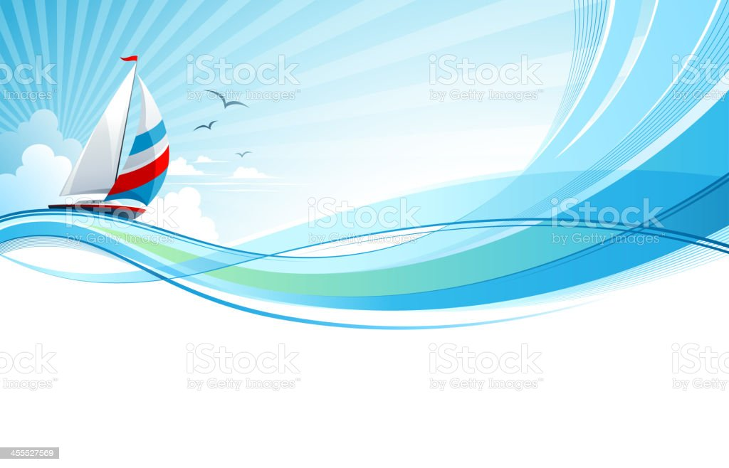 Sailing the rough seas but with tranquility vector art illustration