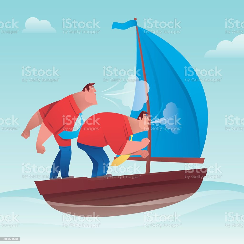 sailing vector art illustration