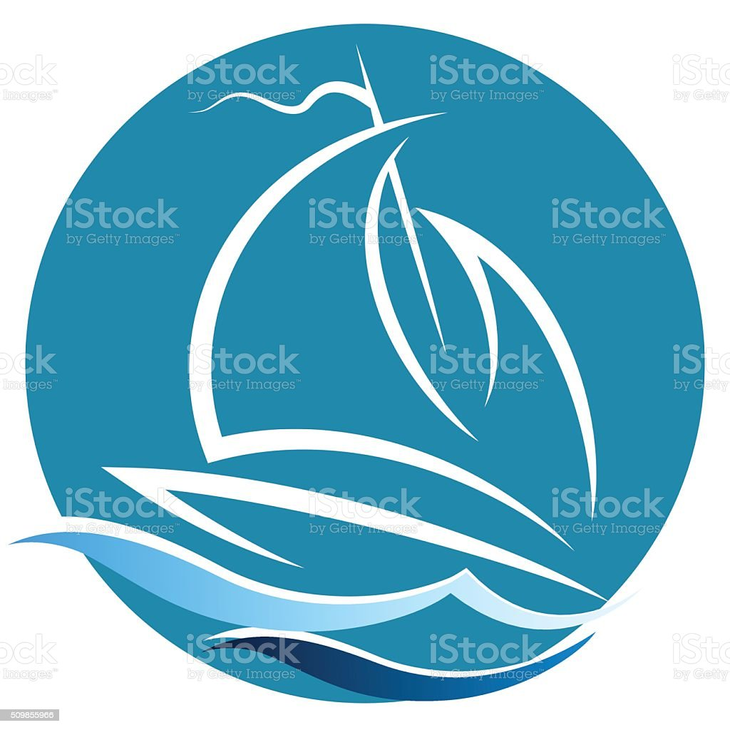 Sailing vessel on the waves vector art illustration