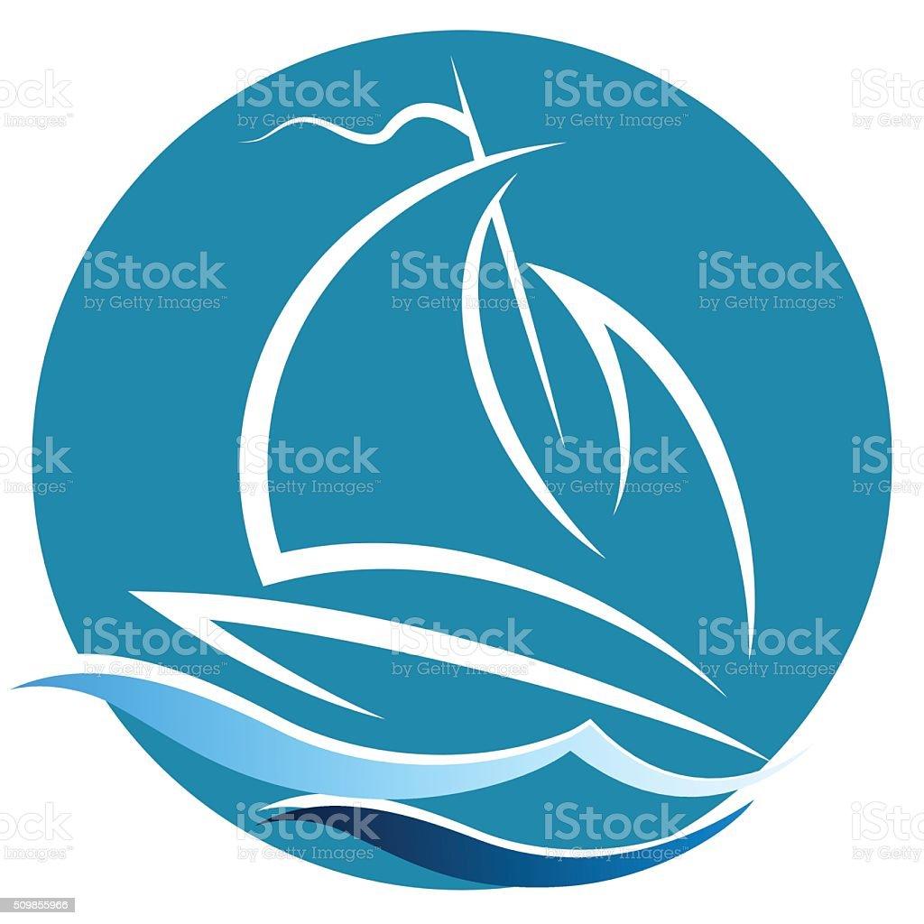Sailing vessel on the waves vector art illustration