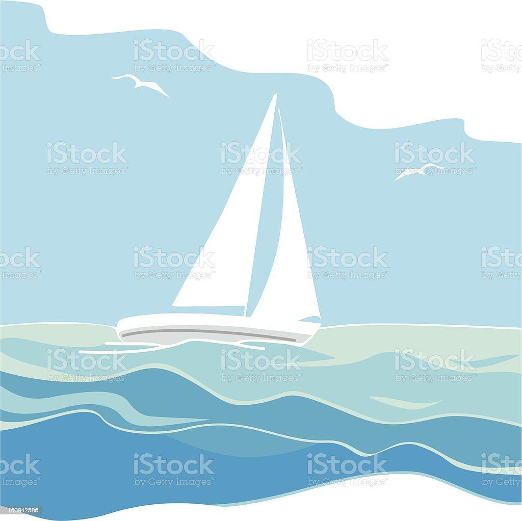Sailing yacht on the sea vector art illustration