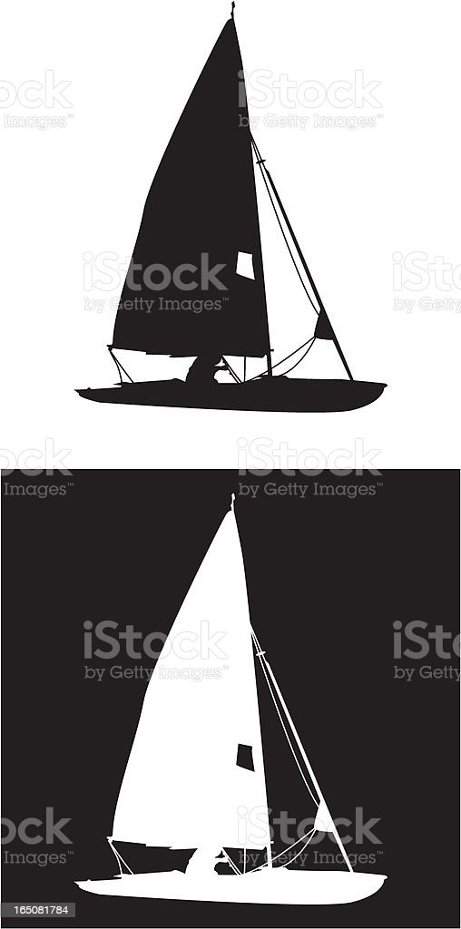 Sailing Yacht Silhouette in Black & White royalty-free stock vector art
