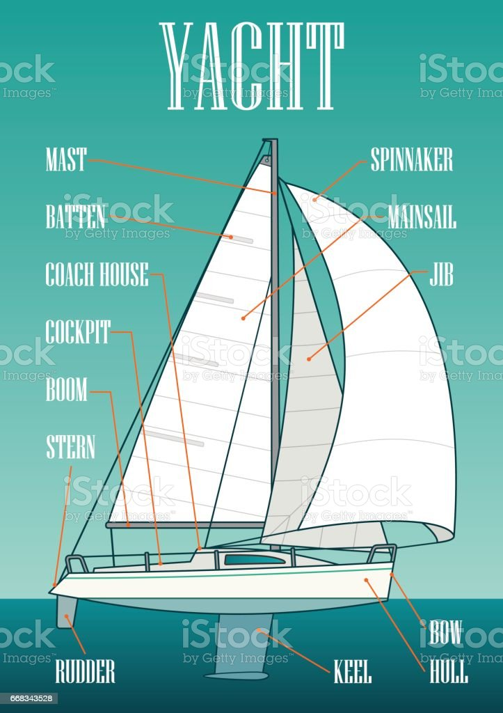 Sailing yacht. Vector drawn flat illustration for yacht club vector art illustration