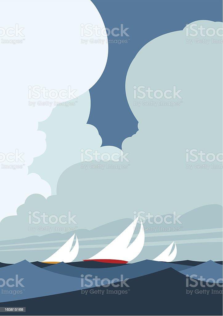 Sailing yachts vector art illustration