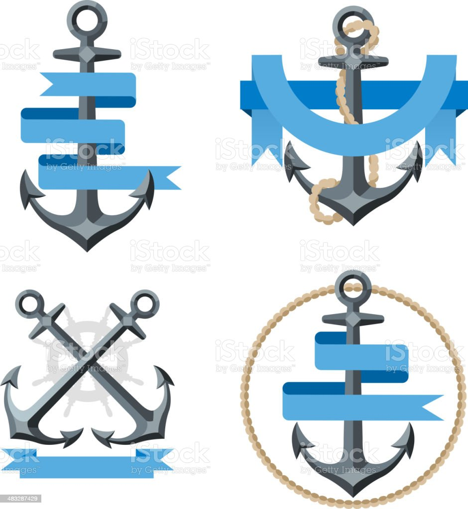 Sailor Anchor Emblem with Banner 3 vector art illustration