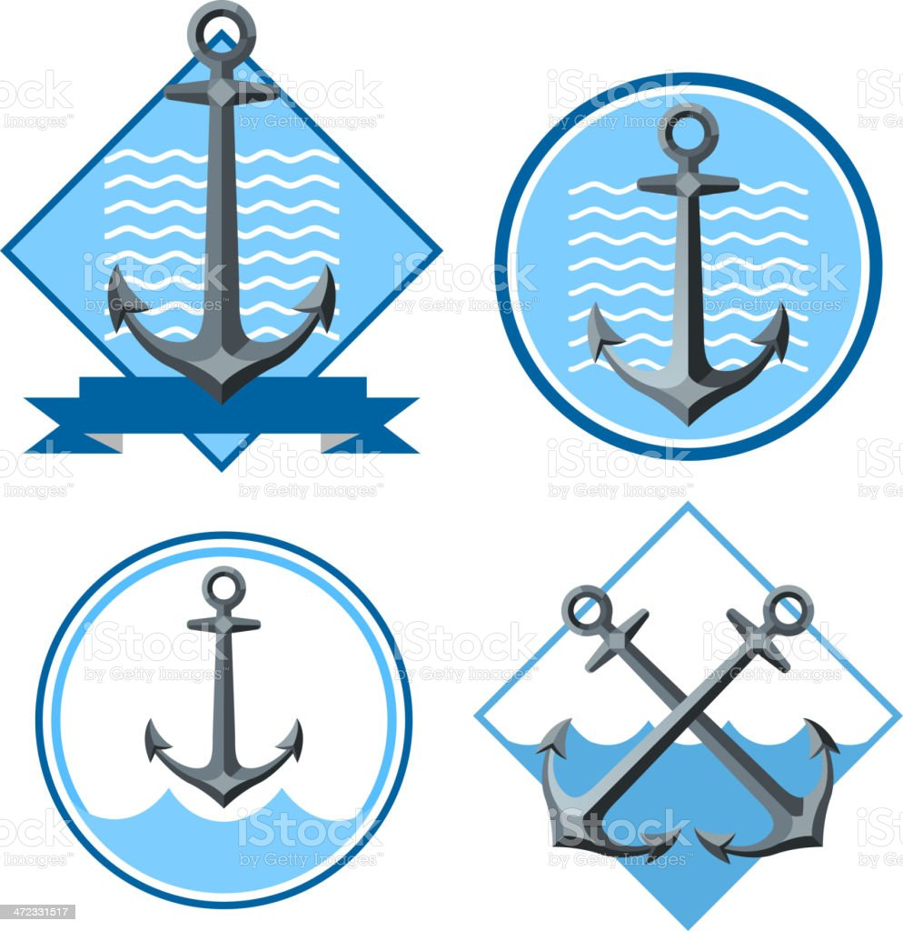 Sailor Anchor Emblem with Banner royalty-free stock vector art