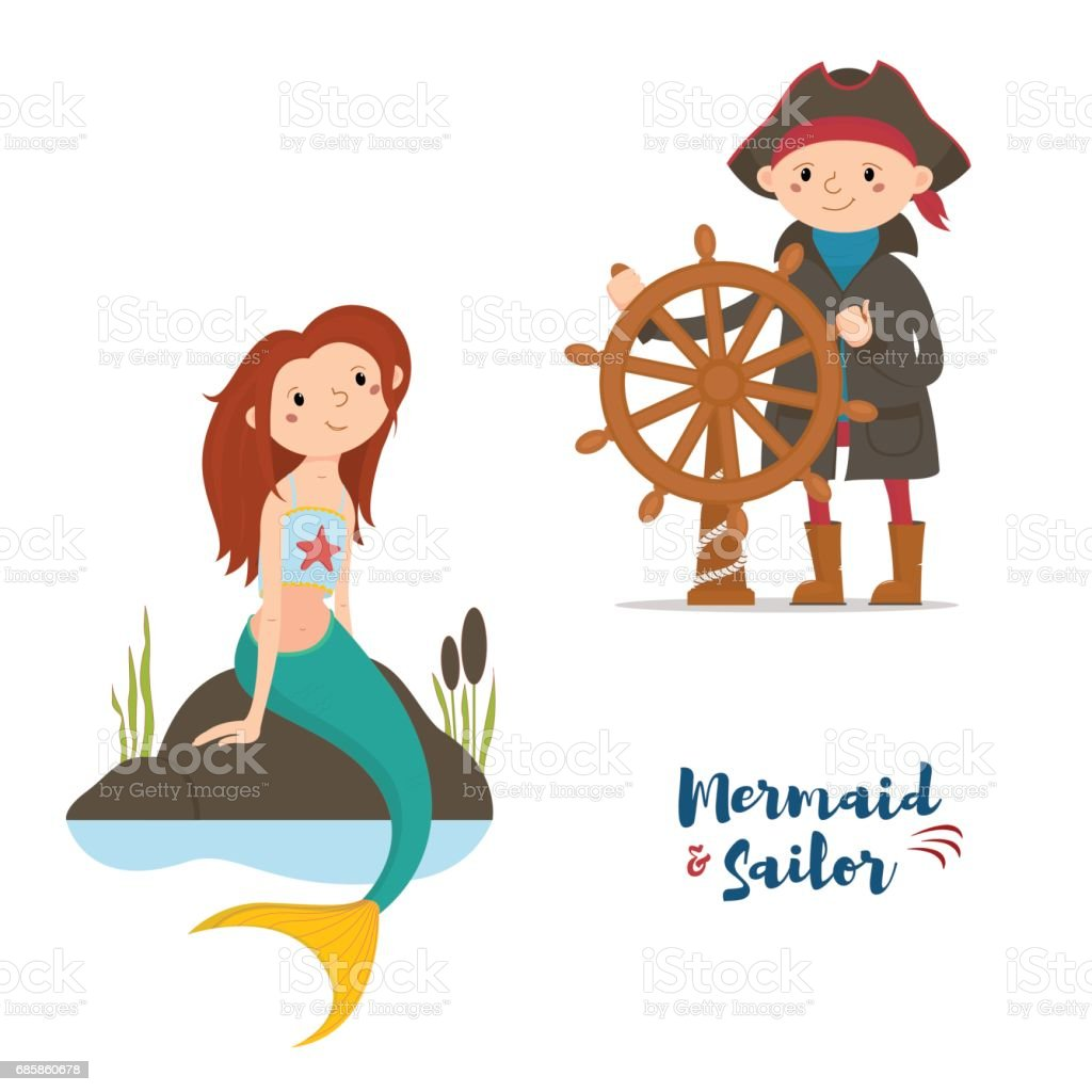 Sailor stock photos illustrations and vector art - Sailor Captain Holding Steering Wheel And Mermaid Sitting On Rocks Royalty Free Stock Vector