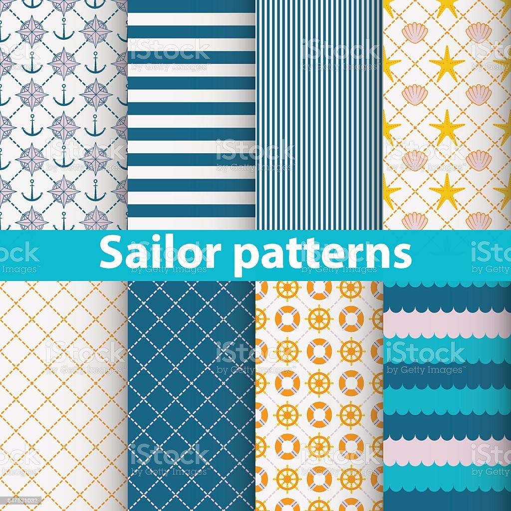 Sailor patterns set vector art illustration