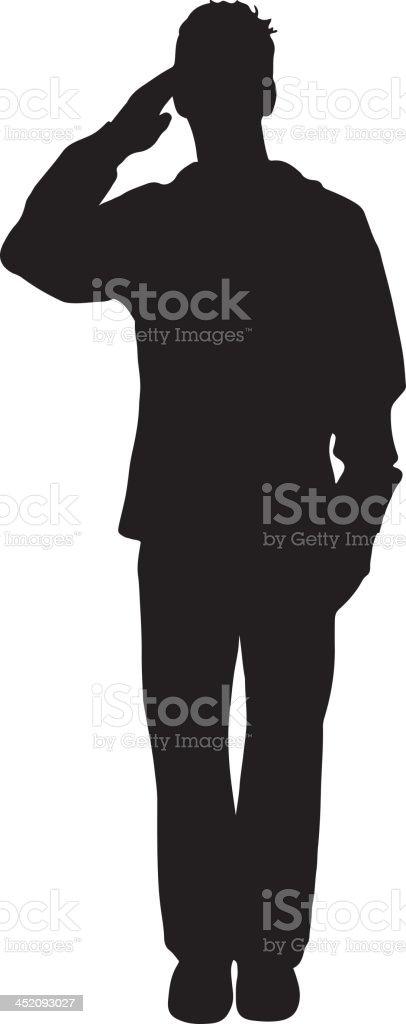 Sailor saluting silhouette vector art illustration