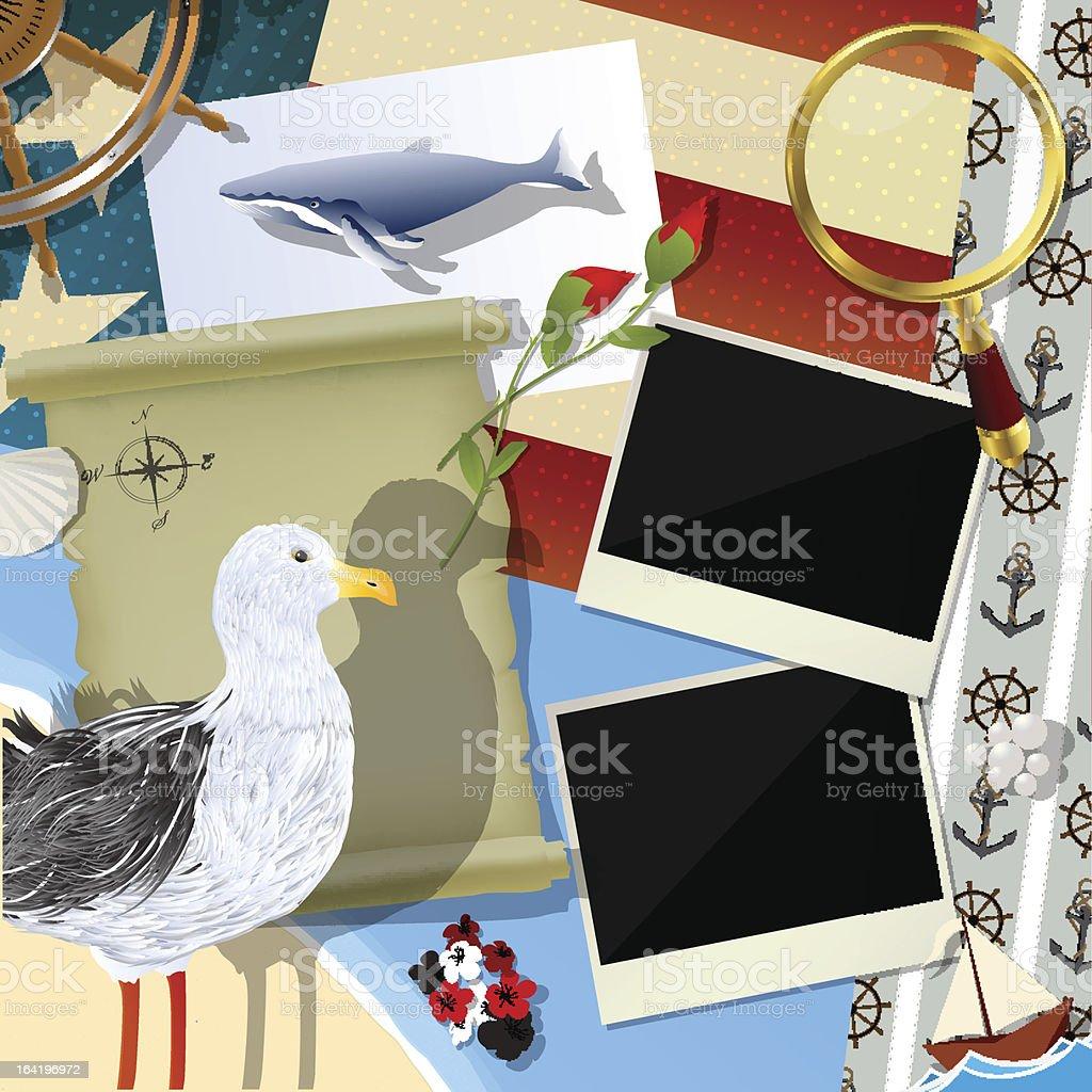 Sailor, traveler scrapbook design royalty-free stock vector art