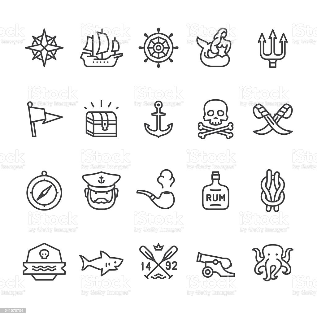 Sailors Historical vector icons vector art illustration
