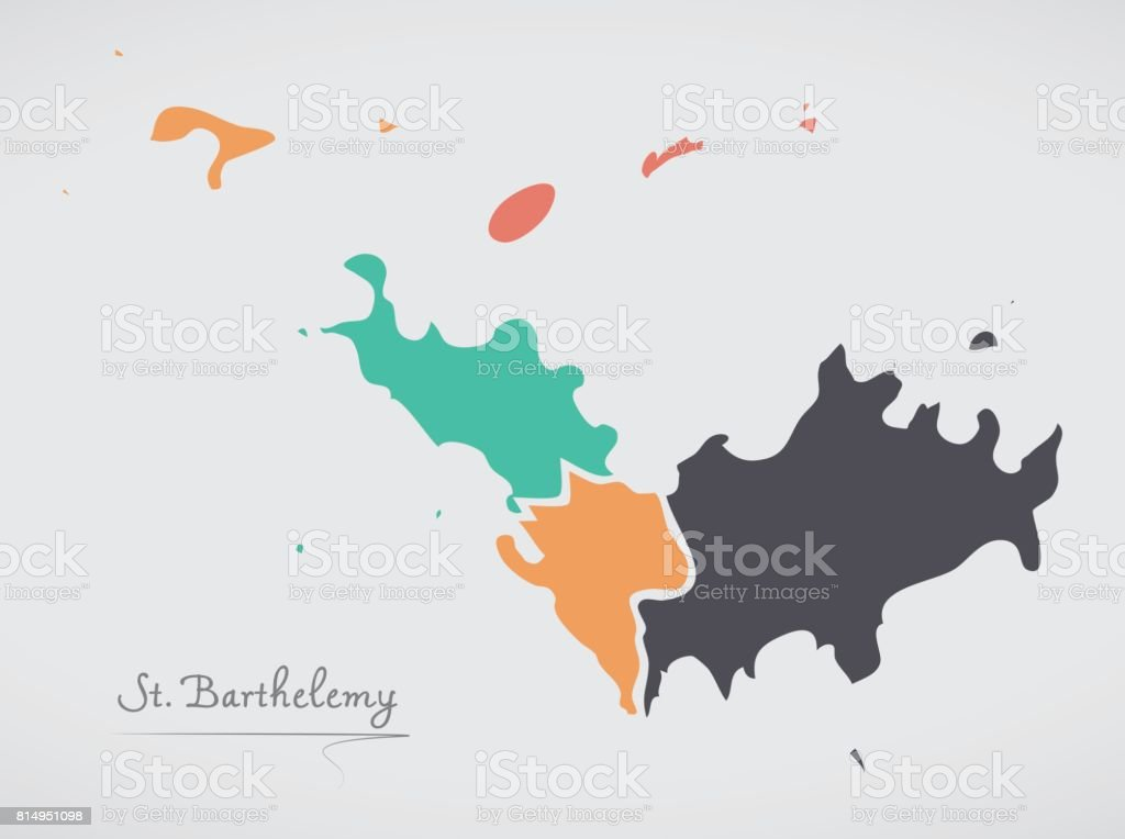 Saint Barthelemy Map with states and modern round shapes vector art illustration