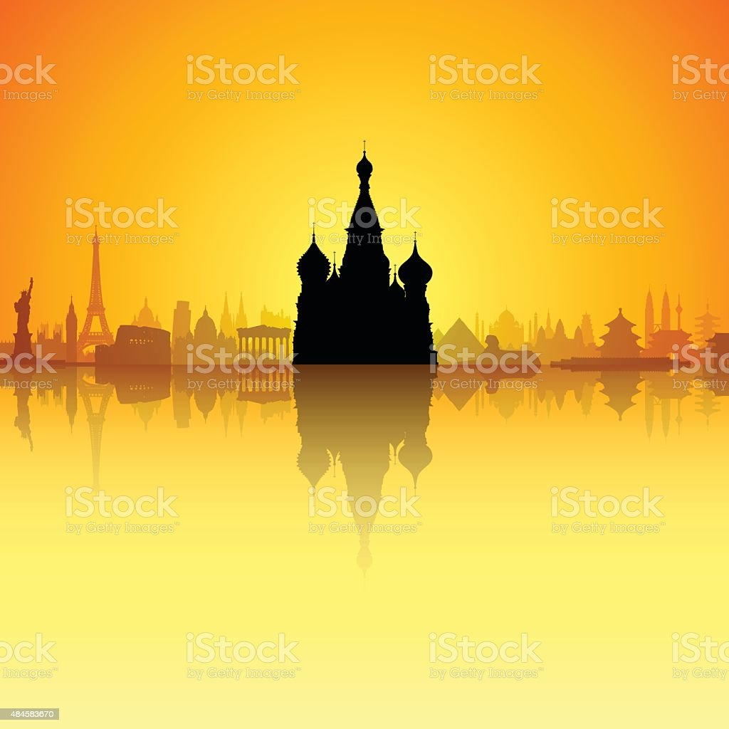 Saint Basil's Cathedral, Moscow (Each Building is Moveable and Complete) vector art illustration