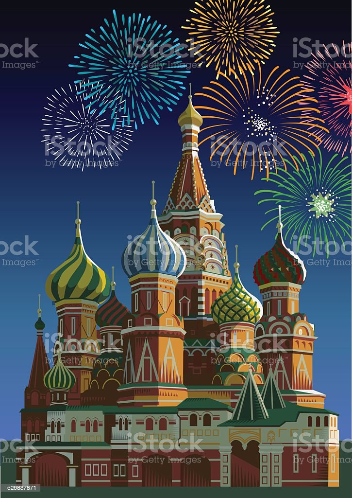 Saint Basil's cathedral with fireworks - Moscow vector art illustration