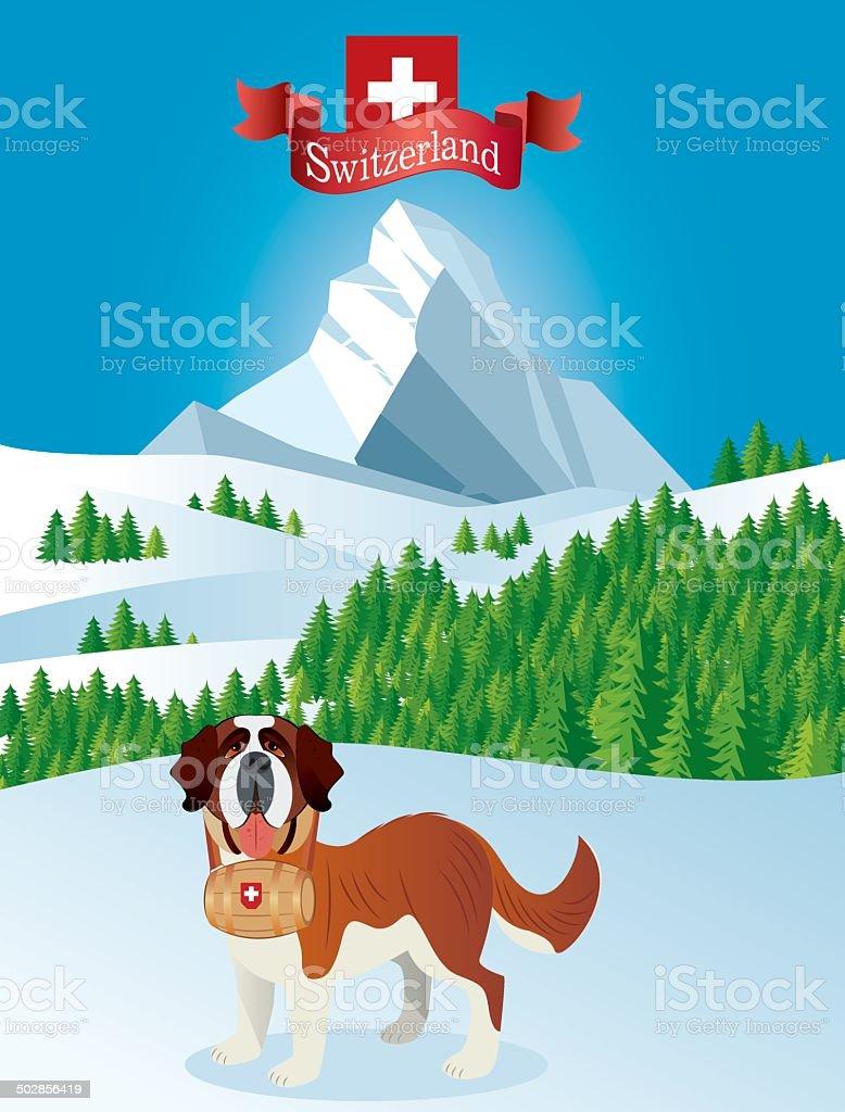 Saint Bernard and Mountain vector art illustration