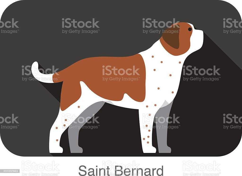 Saint Bernard dog body flat icon design vector art illustration
