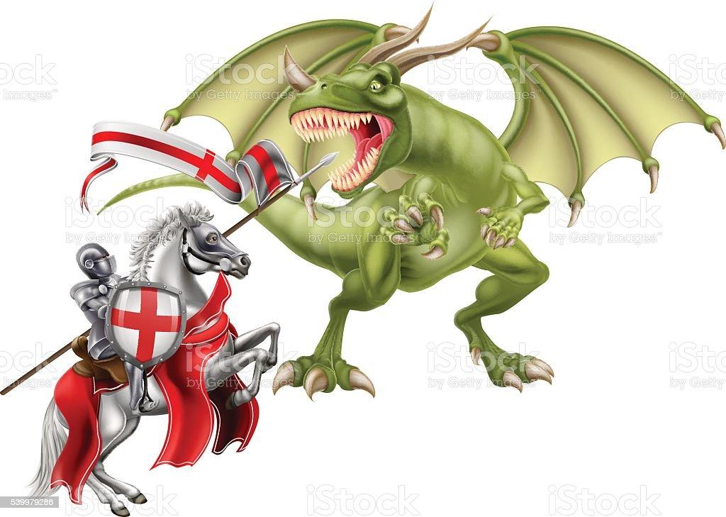 Saint George Fighting the Dragon vector art illustration
