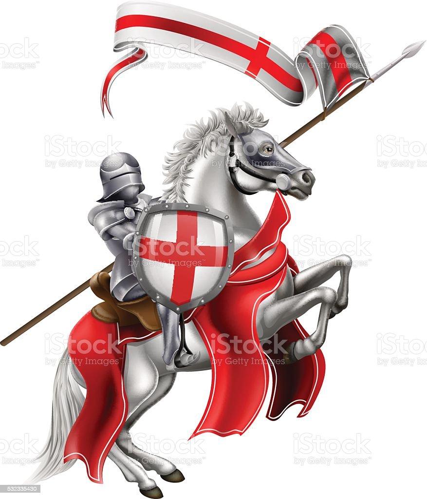 Saint George of England Knight on Horse vector art illustration