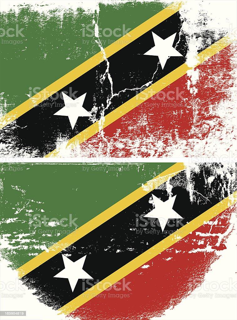 Saint Kitts & Nevis Grunge flag royalty-free stock vector art