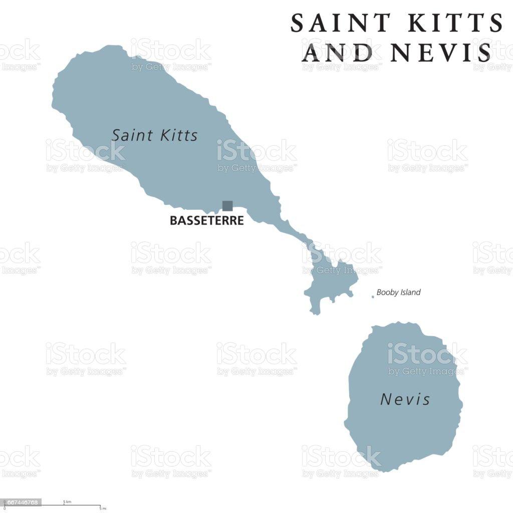 Saint Kitts and Nevis political map vector art illustration