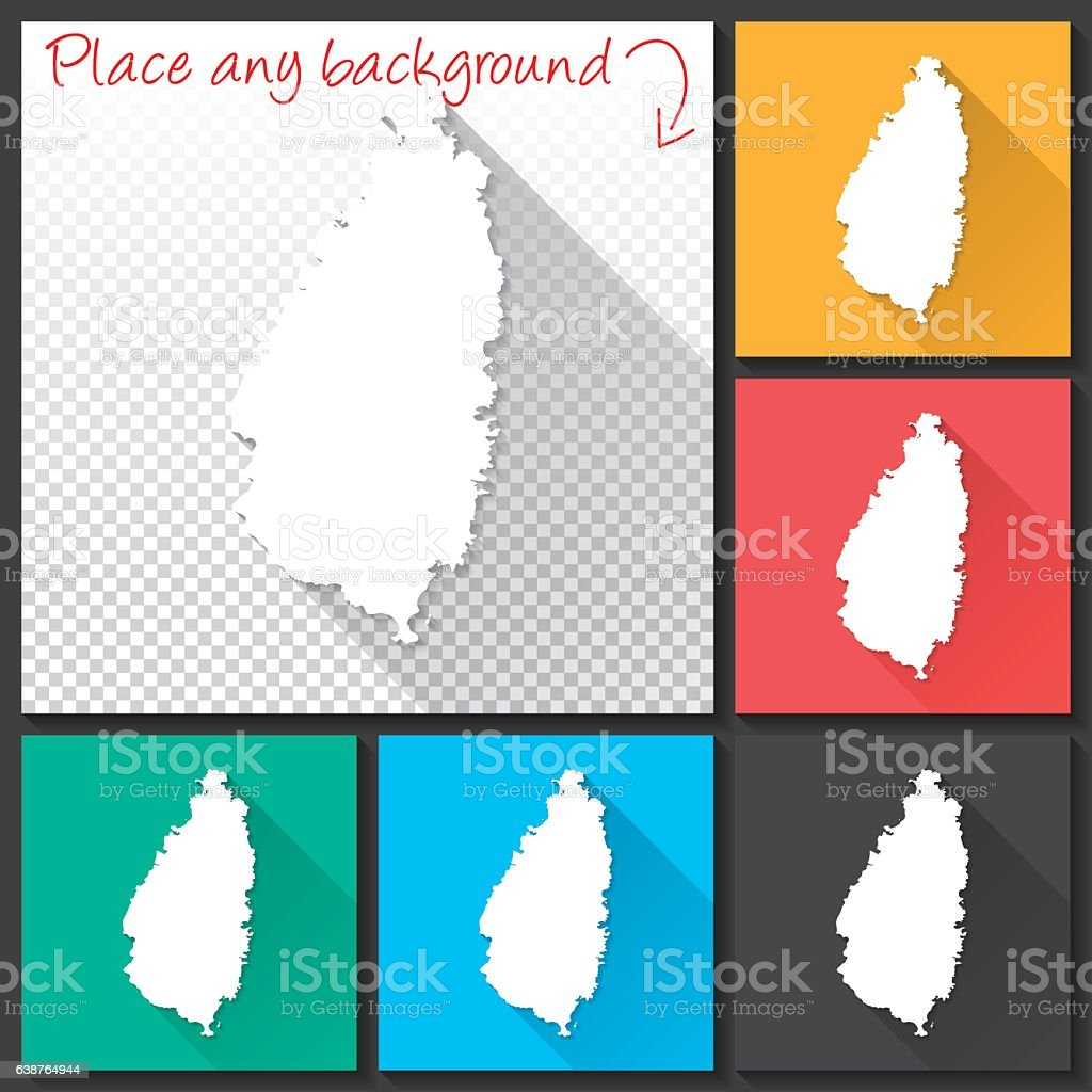Saint Lucia Map for design, Long Shadow, Flat Design vector art illustration