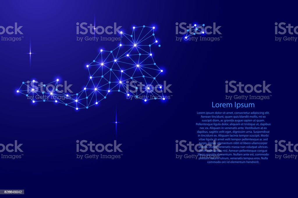 Saint Martin map of polygonal mosaic lines network, rays and space stars of vector illustration. vector art illustration